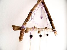 Dream Catcher - White Triangle - With RAW AMETHIST Gemstone Crystal, Natural White Swallow Feathers and Wooden Frame - Home Decor, Mobile. $35.00, via Etsy.