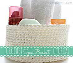 Make a crochet a spa basket for Mother's Day! #Free #crochet #pattern