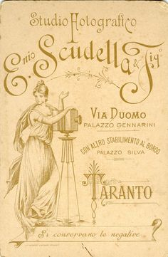 1800  Italia antique photographer card vintage typography