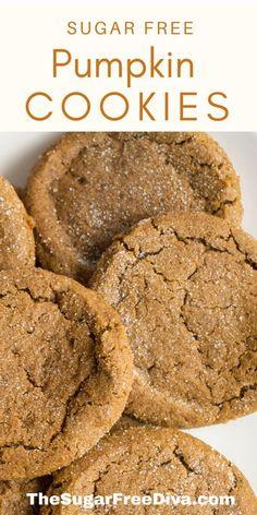 Sugar Free Cookie Recipes, Sugar Free Baking, Sugar Free Treats, Sugar Free Cookies, Sugar Free Desserts, Pumpkin Sugar Cookies, Pumpkin Cookie Recipe, Pumpkin Dessert, Pumpkin Recipes