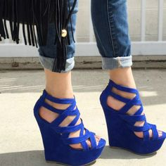 Hot Blue Strappy Open Toe Platform Wedges