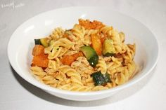 Chicken veloute au fusili with pumpkin and courgette #food #chicken #pumpkin #pasta #courgette