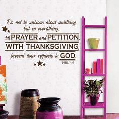 Wall Decal Bible Verse Psalm Decals Philippians 4:6 Do Not Be Vinyl Sticker 3582 #STICKALZ #MuralArtDecals