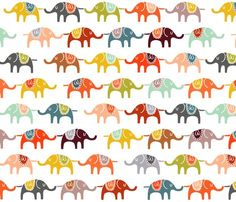 Elephant March!  I see these in a modern room with a lot of white, on some over sized throw cushions on the floor. A pop of color and whimsy to brighten up that smile.   #fabric #elephants #color