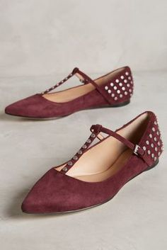 Belle by Sigerson Morrison Valeda T-Straps Burgundy Wedges #anthrofave