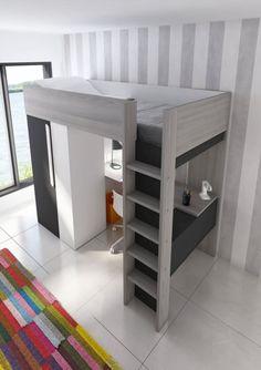 Praktická, kvalitní a elegantní postel ze Španělska 🇪🇸 je přesně pro vás, kteří řešíte prostor opravdu malého pokojíku pro jedno dítě.  Postel, šatní skříň, police a prostorný psací stůl? 😍 Ano, to je patrová postel se skříní a stolem B - Graphit. 👇 Loft Bunk Beds, Bunk Beds With Stairs, Built In Bunks, Built In Desk, Small Room Desk, Small Rooms, Small Loft Apartments, House Bunk Bed, Bedroom Decor