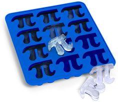 """Marylin sez, """"Pi Day's coming up March 14 and here's an ice tray to impress your friends and colleagues at your Pi Day party."""" Pi Symbol Ice Cube Trays (Thanks, Marylin! Ice Cube Molds, Ice Cube Trays, Ice Tray, Ice Cubes, Pi Symbol, Happy Pi Day, Ice Ice Baby, Mixed Drinks, Kitchen Gadgets"""