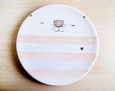 Handpainted cat ceramic plate, Animals pottery plate , Ceramic dish, Cute ceramic dish, Ceramics & pottery, Dinner plate, Ceramic dinnerware