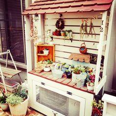 Toiroさんの、庭,多肉,多肉棚,DIY,室外機カバーDIY,玄関/入り口,のお部屋写真