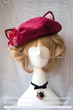 "Surfacespell ""Courtyard for Frolicking Cats"" Cat Ear Beret. Sweet Lolita Accessory"