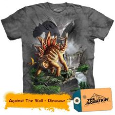 The Mountain Stegosaurus Dinosaur Against The Wall Graphic T-Shirt Dinosaur Toys For Kids, Kids Backpacks, Boys T Shirts, T Rex, Tshirts Online, Toddler Boys, Mens Tops, Mountain, Youth