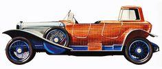1924 Panhard 40/50 CV carrocero francés Henri Labourdette, que antes de la guerra había introducido el cuerpo de bote carvel-construida, produjo este masterpeice exótica en un chasis Panhard grande para el Salón de París de 1924. Lo llamó un bote-taxi. Para entrar en la pequeña casa en la parte posterior, que tenía primero en doblar el parabrisas delantero en la cubierta con bisagras, para elevar ese antes de abrir la puerta.