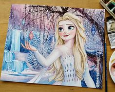 """Tas KreationStudio on Instagram: """"Commissioned Elsa Watercolour 😄 this was such a fun piece and the background was a challenge but I loved it! There's also glitter…"""" Disney Princess Drawings, Disney Drawings, Art Drawings, Frozen Painting, Fire Image, Simple Canvas Paintings, Disney Animated Movies, Drawing Quotes, Disney Fun"""