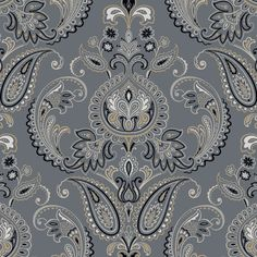 Deluxe steel blue/bisque/white paisleys designer wallcovering by York. Item ND7077. Fast, free shipping on York. Find thousands of designer patterns. Swatches available. Width 27 inches.