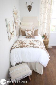 University of Texas Longhorn college girl dorm bedding LOVE! Tan Cowhide Designer Dorm Bedding Set