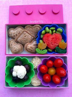 Lovely Lego heart lunch bento-bentoriffic plant based vegan lunchboxes