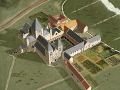 Thetford Priory - Aerial view reconstruction drawing