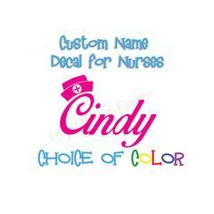 Nurse Name Sticker - Nurse Decal - Nursing Hat and Name Sticker - Nurse Hat Car Decal - Personalized name sticker
