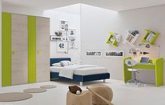 Yellow And White Lines Boys Bedroom With White Comfort Bed  And Sport Decoration Kids Bedroom Wall Ideas Bedroom design