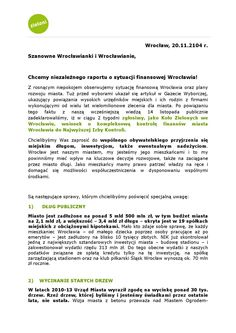 Apel do Wrocławian  Chcemy niezależnego raportu o sytuacji finansowej Wrocławia!