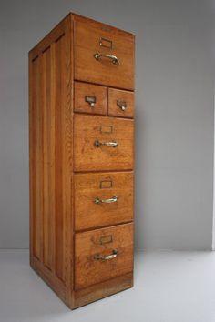 Antique Edwardian Antique Oak Filing Cabinet.