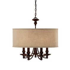 Springfield Linen Shade Chandelier  5 Light