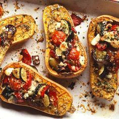 Roasted butternut squash with goat's cheese