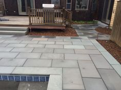 """Thermalled blue """"select"""" stone patio. Ready for spring planting... Nantucket."""