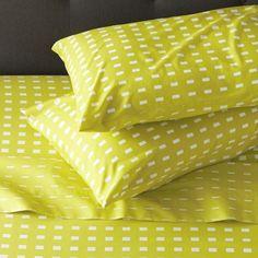 Marimekko Kullervo Citron Sheet Sets for benches Baby Bedding Sets, Patterned Sheets, King Sheet Sets, Simple Bags, Marimekko, Bedding Collections, Crate And Barrel, Crates, Bed Pillows