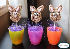 bunny pops What you'll need: 1 9x13 pan of rice krispie treats, prepared - made using cocoa krispies lollipop sticks white chocolate melts red food colouring candy eyes bunny cutter Directions: 1. using your bunny cookie cutter, cut bunny shapes out of your pan of rice krispie treats 2. stick a lollipop stick in the bottom of each bunny 3. slowly melt your white chocolate and add just a tiny bit of red food colouring to create a nice shade of light pink 4. pipe on some pink chocolate for the…