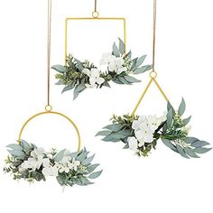 LSME Floral Hoop Wreath Set of 3 Metal Geometric Rings with Artificial Hydrangea Flower and Willow Leaves for Wedding Ceremony Backdrop Home Decor White Artificial Hydrangea Flowers, Silk Flowers, Silk Hydrangea, Rustic Wedding Backdrops, Wedding Ceremony Backdrop, Wedding Decoration, Silk Flower Arrangements, Flower Garlands, Floral Wreaths