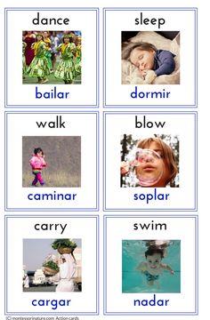 Bilingual Spanish - English Action Cards   Montessori Nature Printables