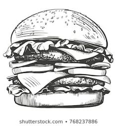 big burger, hamburger hand drawn vector illustration sketch retro style – Comprar este vetor do stock e explorar vetores semelhantes no Adobe Stock Illustration Sketches, Food Illustrations, Hamburger Drawing, Burger Vector, Vintage Typography, Japanese Typography, Typography Poster, Typography Design, Big Burgers