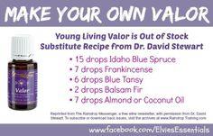 young living valor: 15 drops Idaho blue spruce, 7 drops frankincense, 6 drops blue tansy, 2 drops balsam fir, 7 drops almond or coconut oil