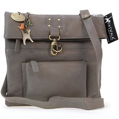 "Umhängetasche ""Dispatch"" aus Leder von Catwalk Collection - Grau - Größe: B: 28 H: 27 T: 3 cm - http://herrentaschenkaufen.de/catwalk-collection-handbags/grau-umhaengetasche-dispatch-aus-leder-von-b-28-h-t"