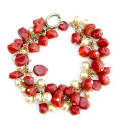 Coral bracelet with red coral beads and glass pearls. Italian coral jewelry mounted on brass chain. Handcrafted brass charm bracelet