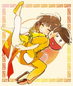 Osomatsu-san | Jyushimatsu x Kano (or Homura) (I think ...?) Kano (Homura) is wearing Ao Dai from Vietnam But Jyushi is wearing the oufit of China Don't know o_Ơ But I'm still Happy ^^