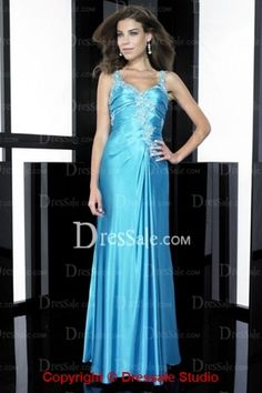 Illusion V-neck Sheath Blue Prom Dress by Night Move