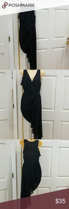 Black asymmetrical chiffon never worn Black asymmetrical chiffon dress never worn hommage Dresses Asymmetrical