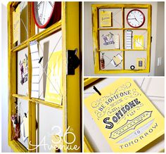 "Small Office Makeover and Organization Ideas ...Loving this DIY Window ""Bulletin Board""  the36thavenue.com"