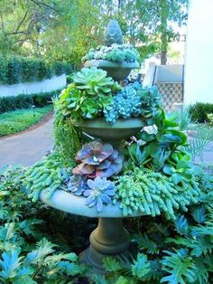 Fountain planter--we have an old fountain I want to do something with it.This would work!