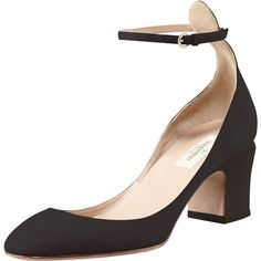 Valentino Suede Low-Heel Ankle-Strap Pump