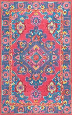 Rugs USA Multi Flavian Indus Medallion rug - Traditional Rectangle x Purple Area Rugs, Beige Area Rugs, Blue Area, Wool Runners, Rugs Usa, Indoor Rugs, Persian Carpet, Rugs On Carpet, Carpets