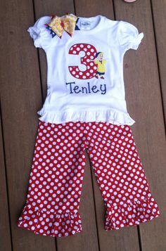 Tenleys Caillou birthday outfit! Made by HopeEmbroidery