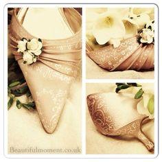 9c5d83fa9a0c Bespoke decorative Hand embellished Vintage style wedding shoe with roses Shoe  Art