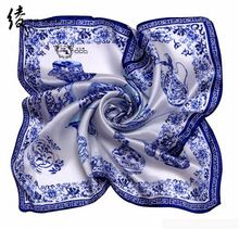 LING/Porcelain Print Bandana Square Silk Scarf, Factory Direct 53*53CM Woman Favorite Foulard Kerchief Necklace Satin Scarf#1064(China (Mainland))