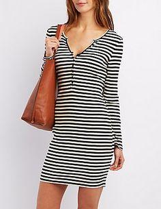 Ribbed Henley Bodycon Dress #CharlotteLook