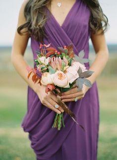 Peonies and king protea wedding bouquet: http://www.stylemepretty.com/2014/03/06/bridesmaids-tea-at-trump-winery/ | Photography: Elisa Bricker - http://elisabricker.com/