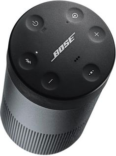 Wireless audio streaming and portability are combined in the triple black Bose SoundLink Revolve Bluetooth Speaker. This speaker pairs with other Bluetooth-enabled devices, like smartphones and tablets, for wireless music streaming. Bose, Logitech, Wireless Speaker System, Bluetooth Speakers, Audio System, Mobile Speaker, Mobile Phones, Wireless Surround Sound, Small Speakers