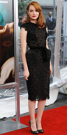 Emma Stone in a Tom Ford dress and Fred Leighton jewelry #dresses